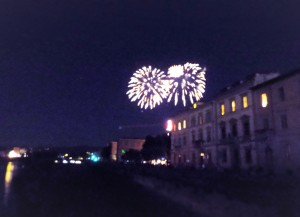 Fireworks for a local dead saint.